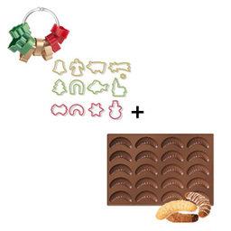Výhodný balíček: Forma na rohlíčky Delícia Silicone plus Vánoční vykrajovátka 13 ks