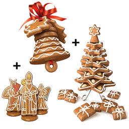 Výhodný balíček: Vykrajovátka Perníkový Mikuláš, anděl a čert plus Vánoční zvoneček plus Vánoční stromeček Delícia